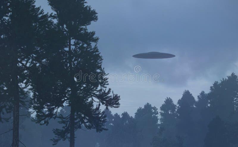 UFO na floresta da noite ilustração royalty free