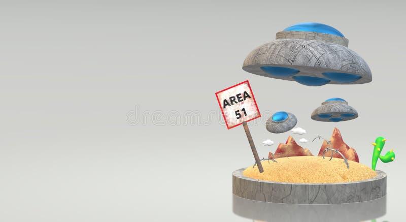 UFO na rendição 3d da área 51 para o índice da ciência ilustração royalty free