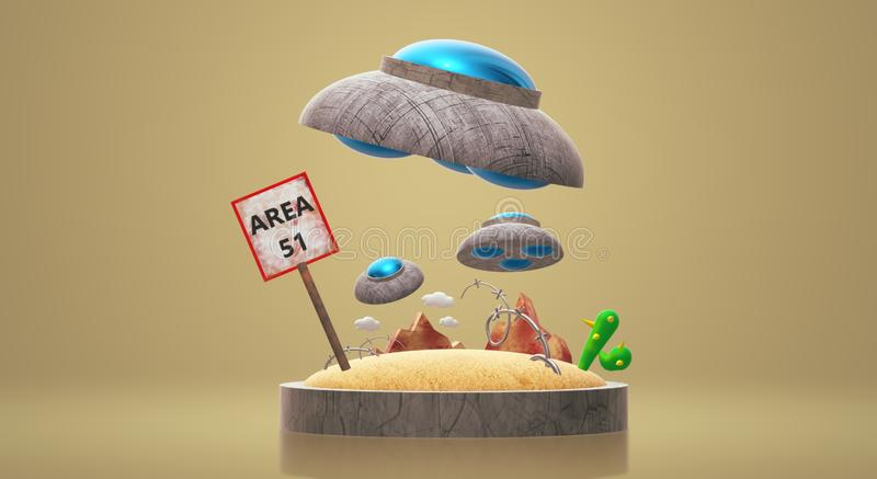 UFO na rendição 3d da área 51 para o índice da ciência ilustração do vetor