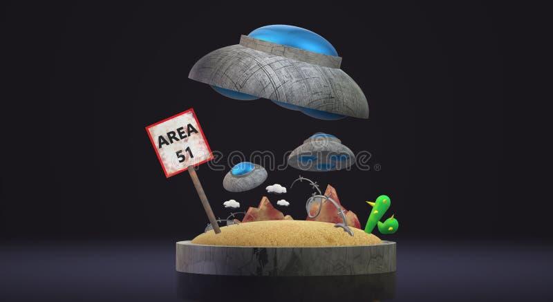 UFO na rendição 3d da área 51 para o índice da ciência ilustração stock