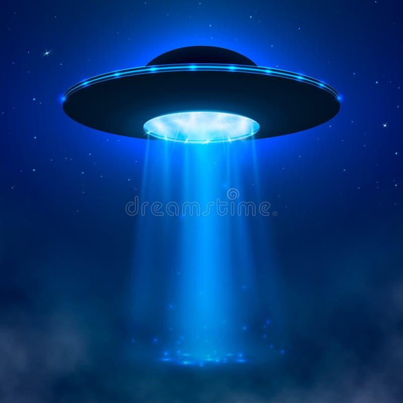 UFO Nave espacial estrangeira com feixe luminoso e névoa Ilustração do vetor do UFO ilustração do vetor