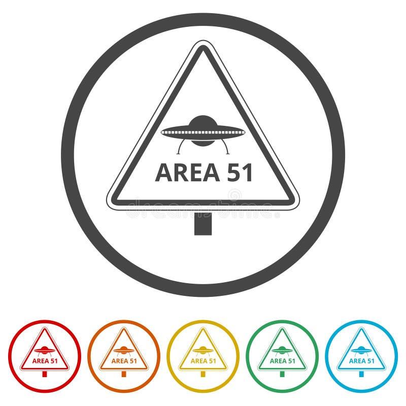Ufo niebezpieczeństwa znak, 6 kolorów Zawierać ilustracji