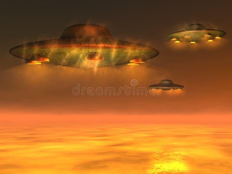 UFO - Niet geïdentificeerd Vliegend Voorwerp royalty-vrije illustratie