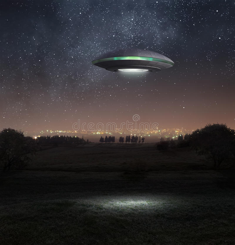 Ufo at night stock photos