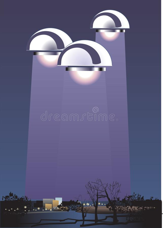 UFO in night sky above city with radiant beam. Vector illustration. UFO in night sky above city with radiant beam vector illustration