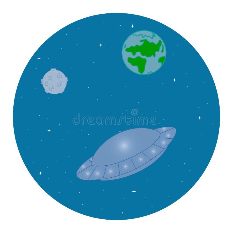 UFO no espaço ilustração do vetor