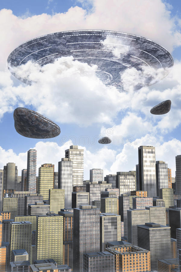 Ufo obca flota nad miastem royalty ilustracja