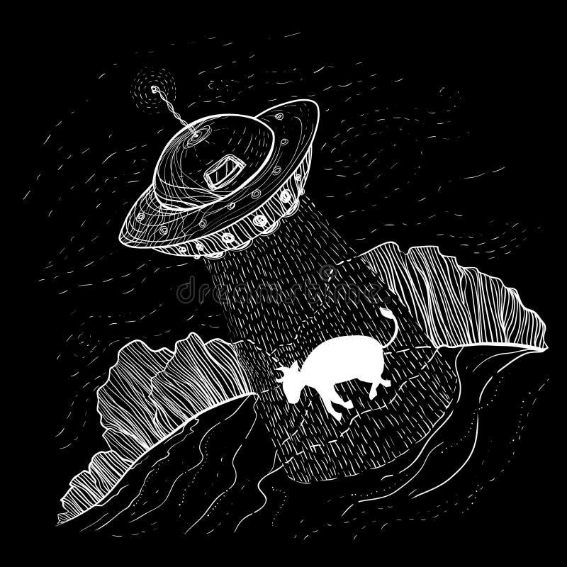 UFO obcy uprowadza, uprowdzają krowy na gospodarstwie rolnym, blisko lasowego d ilustracji