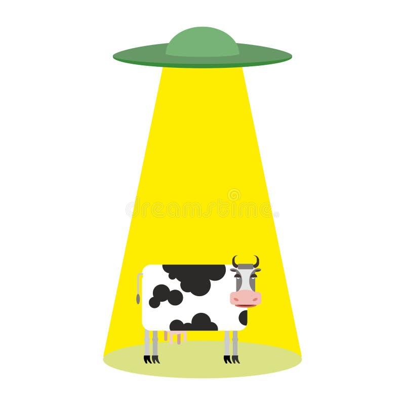 ufo och ko Främlingar rövar bort nötkreatur vektor illustrationer