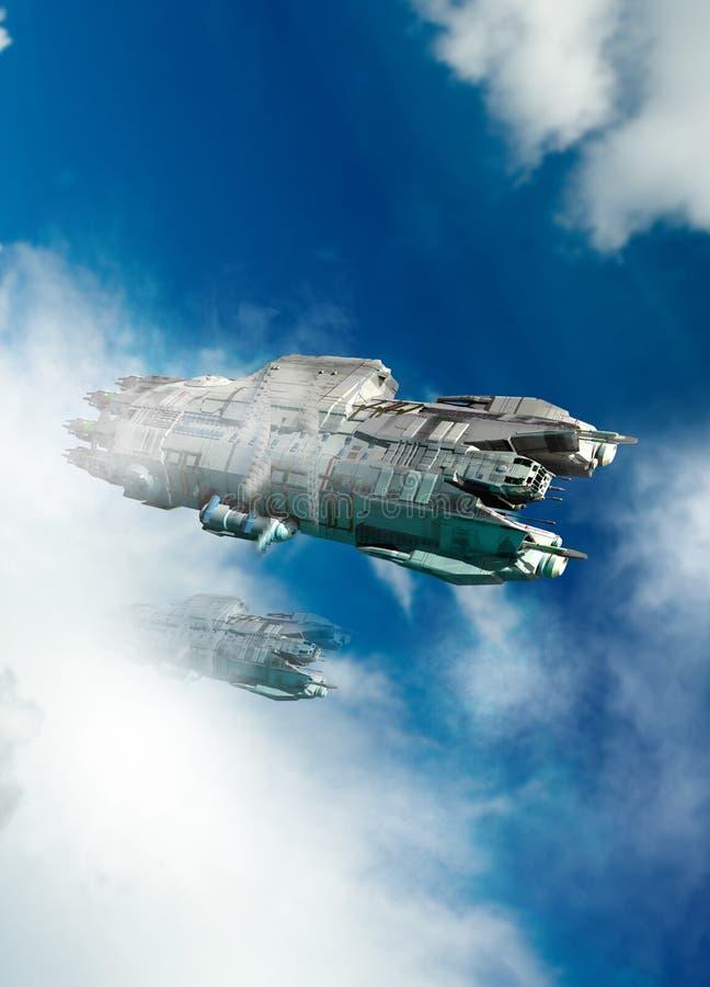 UFO-oder Raumschiffflugwesen durch die Wolken lizenzfreie abbildung