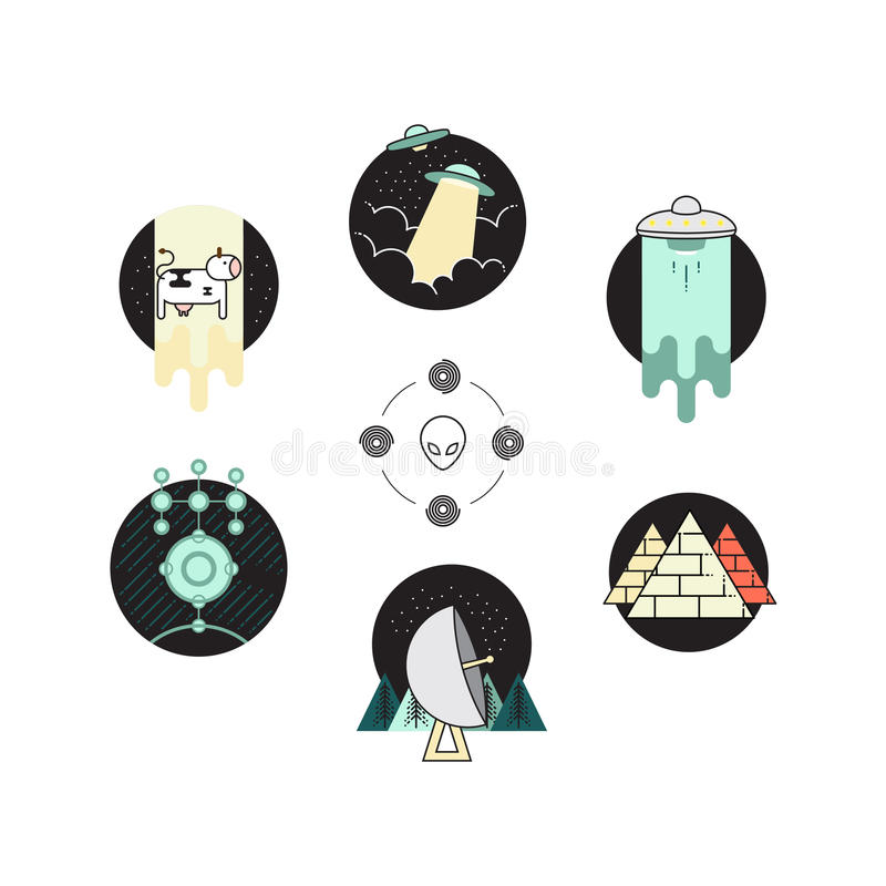 Ufo odznaka 6 ikon set i obcego symbolu logo ilustracja wektor