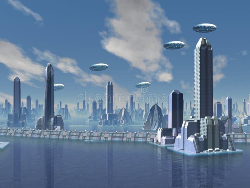 UFO over Futuristische Vreemde Stad stock illustratie