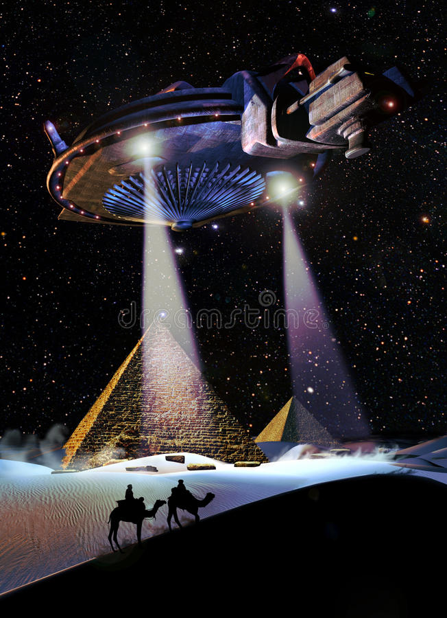 UFO over the pyramids. A giant UFO flies over the pyramids while two nomads are observing the amazing scene