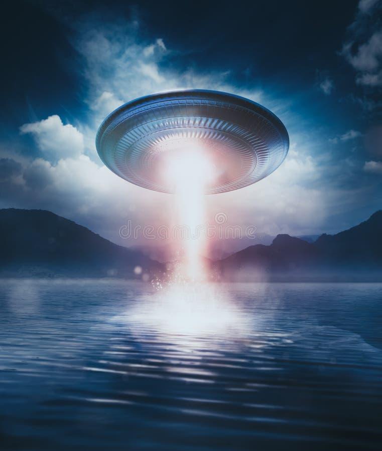 Ufo på en sjö vektor illustrationer