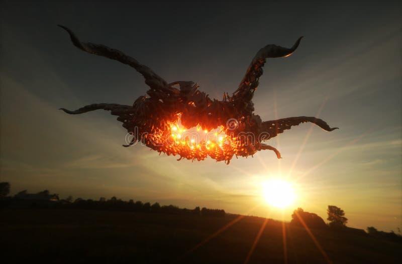 UFO que paira sobre o campo ilustração stock