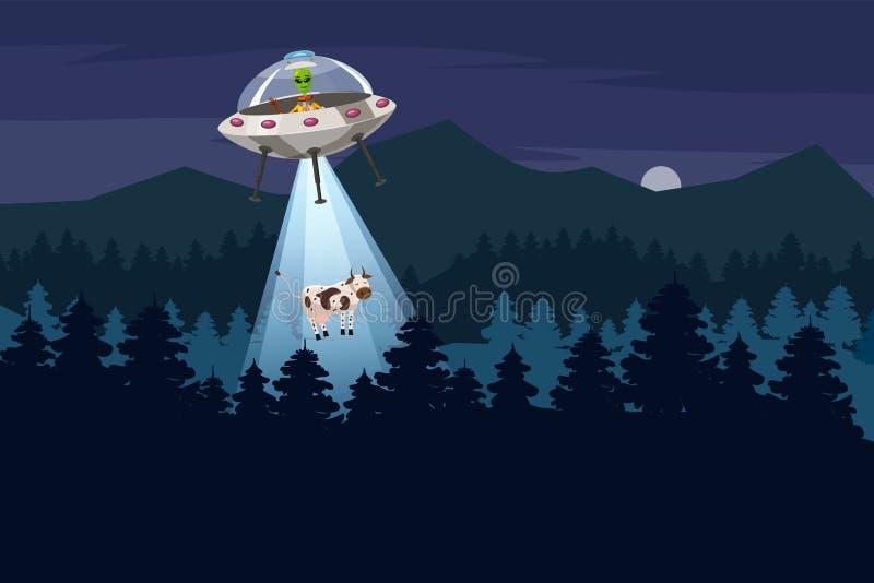 UFO que secuestra una vaca, paisaje del bosque de la noche de verano, el fondo del vector con las estrellas y la luna en el cielo ilustración del vector