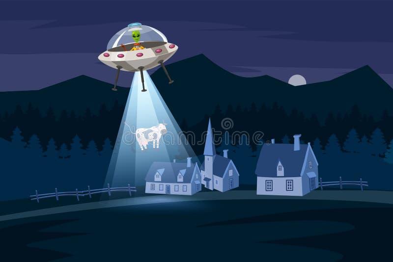 UFO que sequestra uma vaca, paisagem da exploração agrícola da noite de verão, no campo da noite com casas, no fundo do vetor com ilustração stock