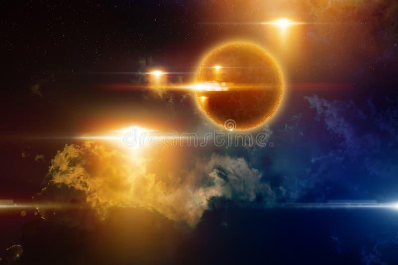 UFO rouge rougeoyant, forme de vie sphérique extraterrestre image stock