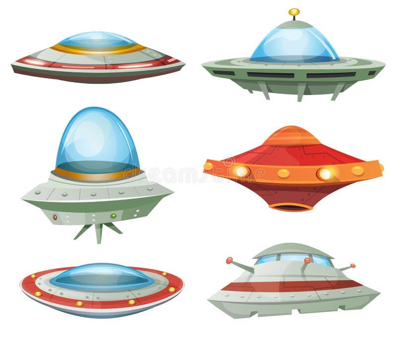 Ufo, rymdskepp och ufouppsättning stock illustrationer