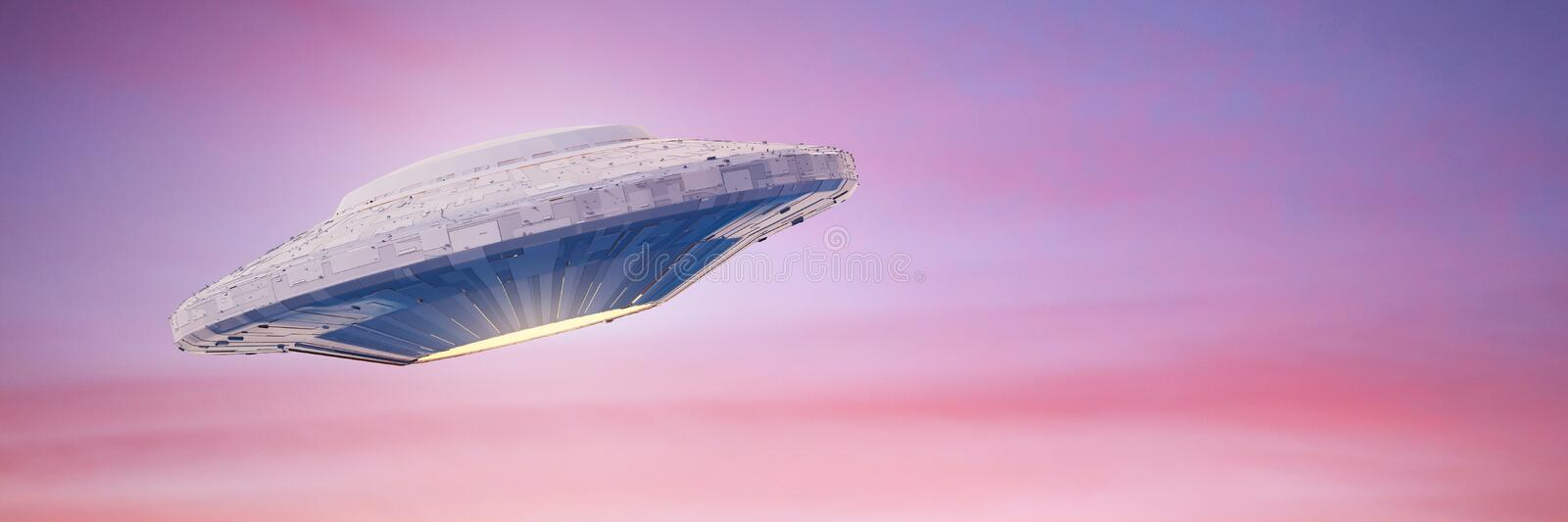 UFO, science fiction scene with fast alien spaceship, extraterrestrial visitors in flying saucer 3d space rendering banner stock photos