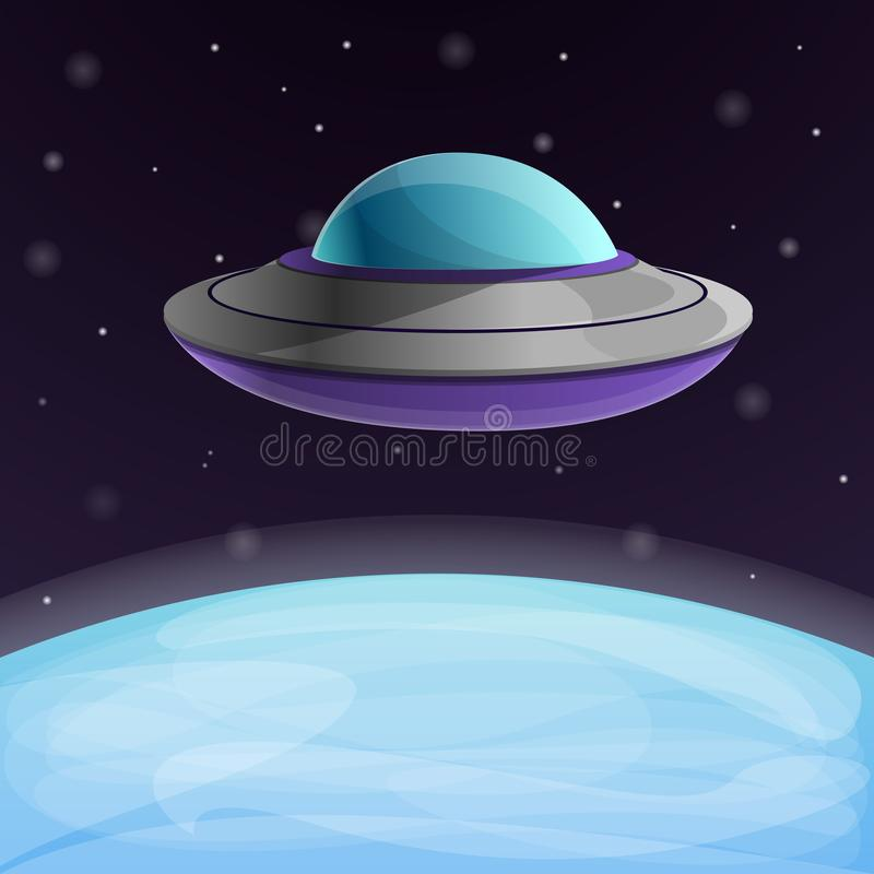 Ufo ship near the earth concept background, cartoon style royalty free illustration