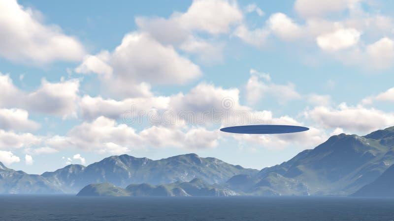 UFO sobre a natureza ilustração do vetor