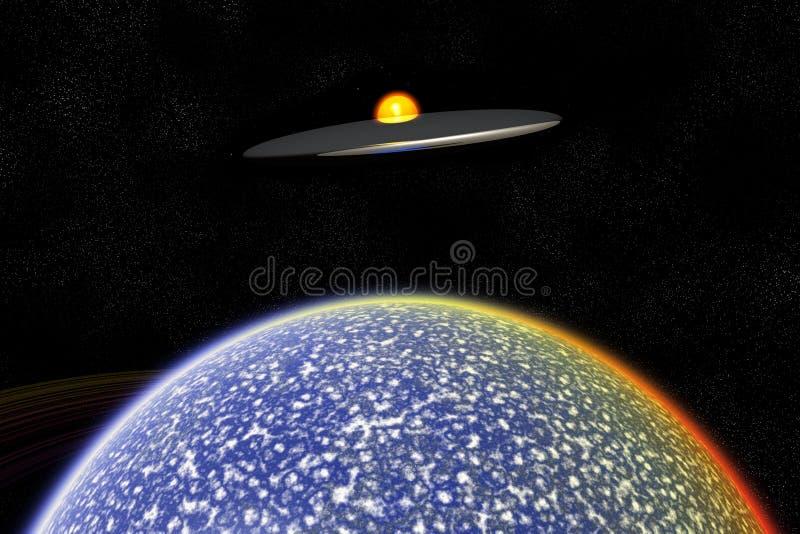 UFO sobre o mundo estrangeiro ilustração royalty free