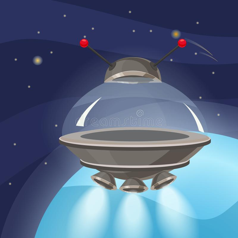 UFO spaceship, cartoon style, background space planet, isolated, vector, illustration stock illustration
