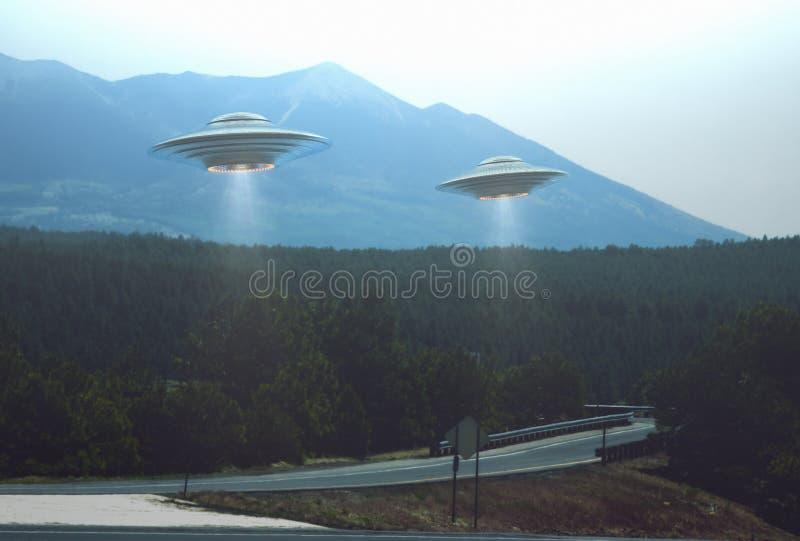 UFO straniero di abduzione dell'oggetto volante non identificato illustrazione di stock