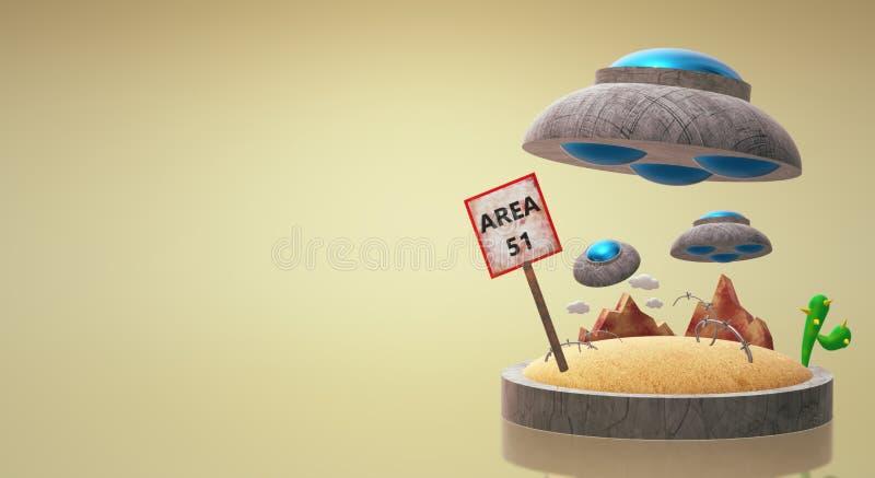 UFO sur le rendu 3d du secteur 51 pour le contenu de la science illustration de vecteur