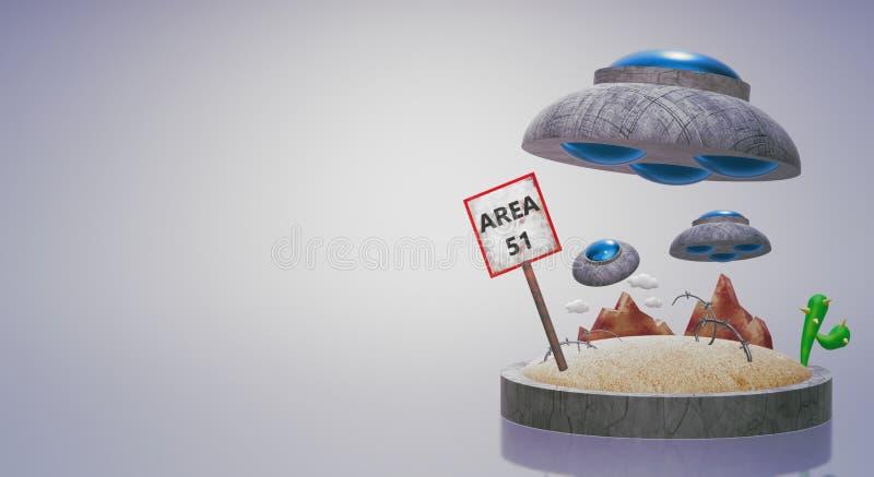 UFO sur le rendu 3d du secteur 51 pour le contenu de la science illustration libre de droits