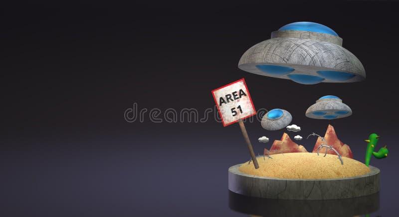 UFO sur le rendu 3d du secteur 51 pour le contenu de la science illustration stock
