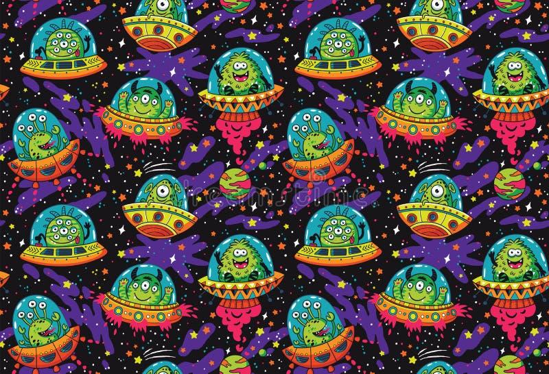 UFO sveglio del fumetto nel modello senza cuciture dello spazio Illustrazione di vettore illustrazione vettoriale