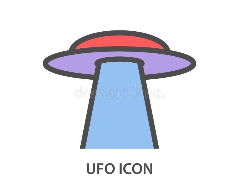 Ufo-symbol på en vit bakgrund Ufo med en stråle främmande spaceship vektor stock illustrationer