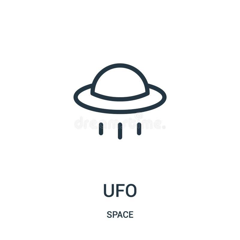 ufo-symbolsvektor från utrymmesamling Tunn linje illustration för vektor för ufo-översiktssymbol stock illustrationer