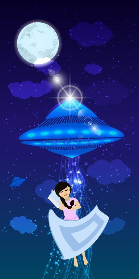 UFO uprowadzenie osoba uśpiona royalty ilustracja