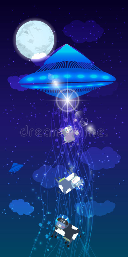 UFO uprowadzenie stada krowy ilustracja ilustracji