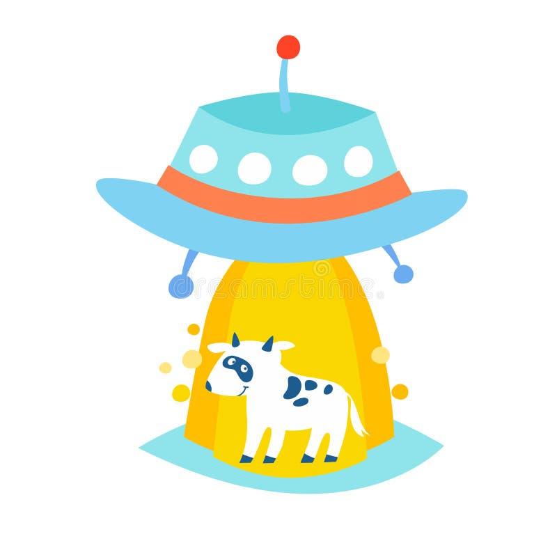 Ufo uprowdza krowa wektoru ilustrację ilustracji