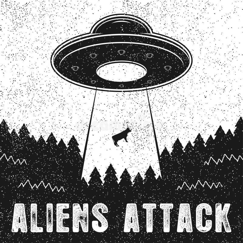 UFO uprowdza krowy Rocznik ilustracja obcy Atakuje z statkiem kosmicznym i UFO lekkim promieniem ziemia royalty ilustracja
