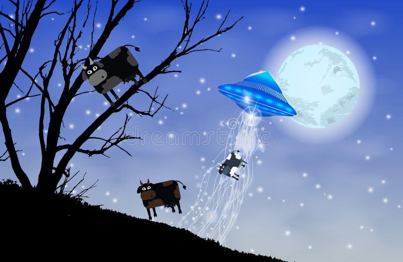 UFO uprowdza krowy sylwetkę Krowa na drzewie ilustracji