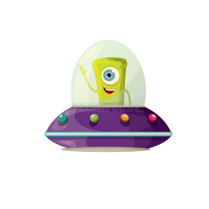 UFO vector extranjero verde Platillo volante libre illustration