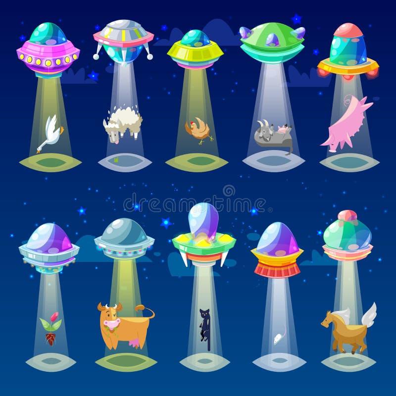Ufo vector vreemd ruimteschip of ruimtevaartuig en spacyschip met dierlijke van het karakterkat of varken illustratiereeks van ui stock illustratie