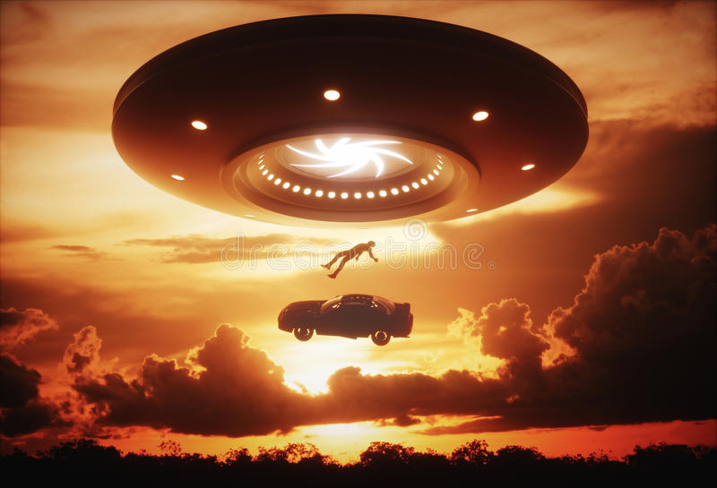 UFO Vreemde Abductie royalty-vrije illustratie