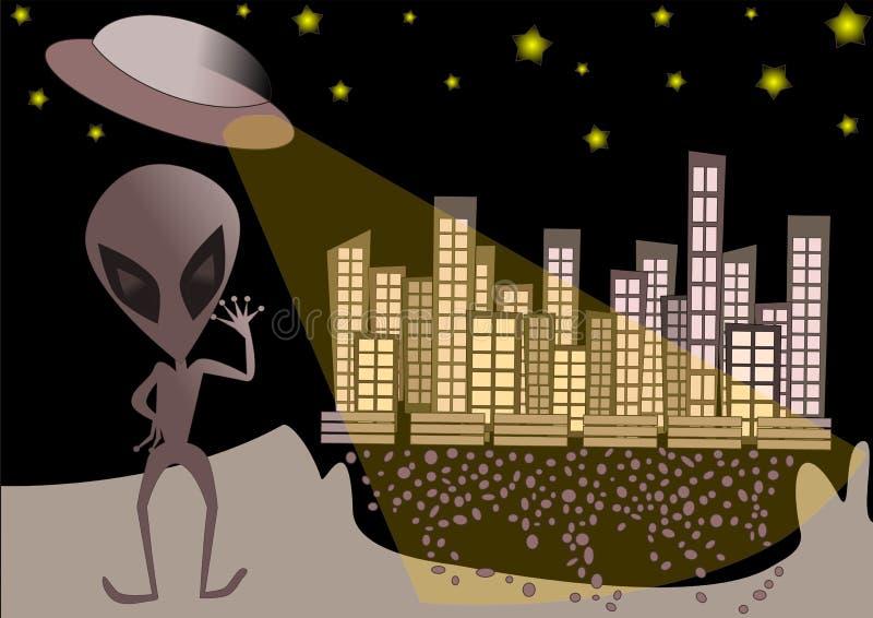UFO vreemde illustratie als achtergrond royalty-vrije illustratie