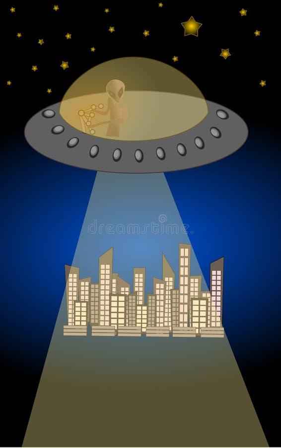 UFO vreemde illustratie als achtergrond vector illustratie