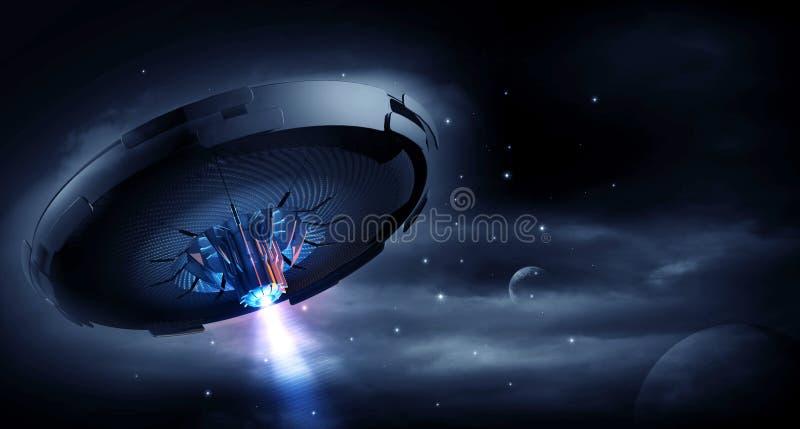 UFO w ciemnej nocy ilustracja wektor