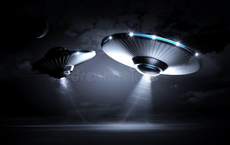 UFO w ciemnej nocy ilustracji