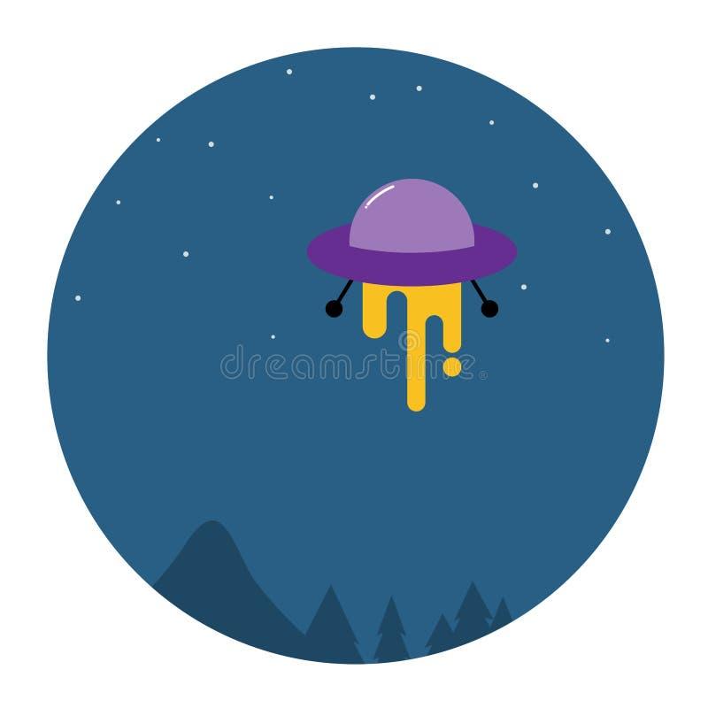 UFO w ciemnym nocnym niebie royalty ilustracja