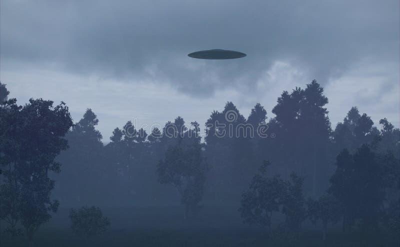 Ufo w noc lesie royalty ilustracja