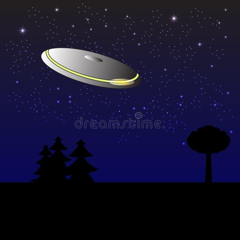 UFO w nocnym niebie ilustracja wektor